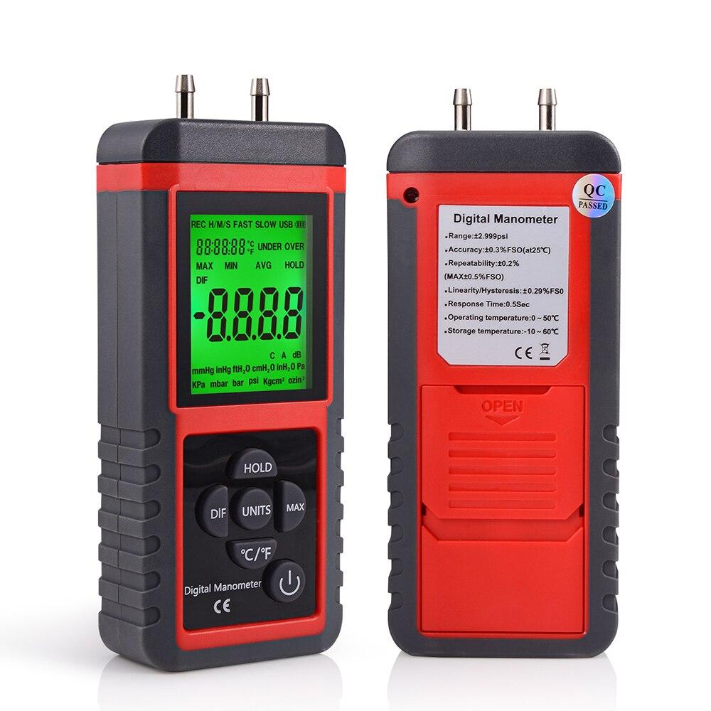 Car Tool 12Unit Digital Manometer Differential Air Pressure Gauge Auto Gas Pressure Measurement Pressure Sensor Instrument