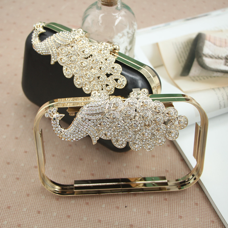 Luxury Diamond Peacock Decor Metal-opening Bags DIY Purse Frame Bags Accessories Wedding Bag Hinge Kissing Clasps