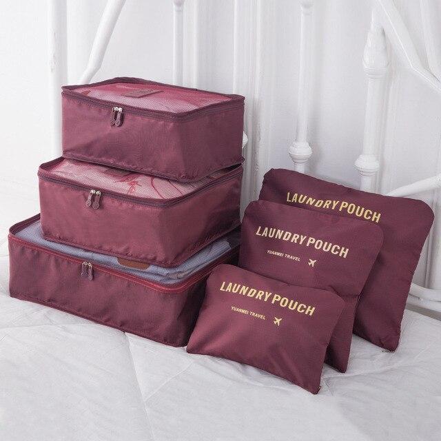 DLYLDQH marque 6 pièces voyage sac de rangement ensemble pour vêtements rangé organisateur pochette valise maison placard diviseur conteneur organisateur