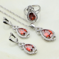 Red Garnet White Australian Crystal 925 Sterling Silver Jewelry Sets For Women Wedding Charm Earring Pendant