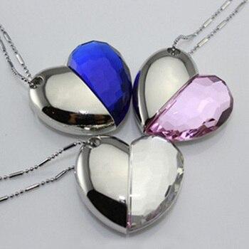 Girl Gift Jewelry USB Flash Drive 512GB Heart Necklace Chain Pendrive 64GB Pen Drive 1TB 2TB Memory Stick Disk Key 8GB/16GB/32GB