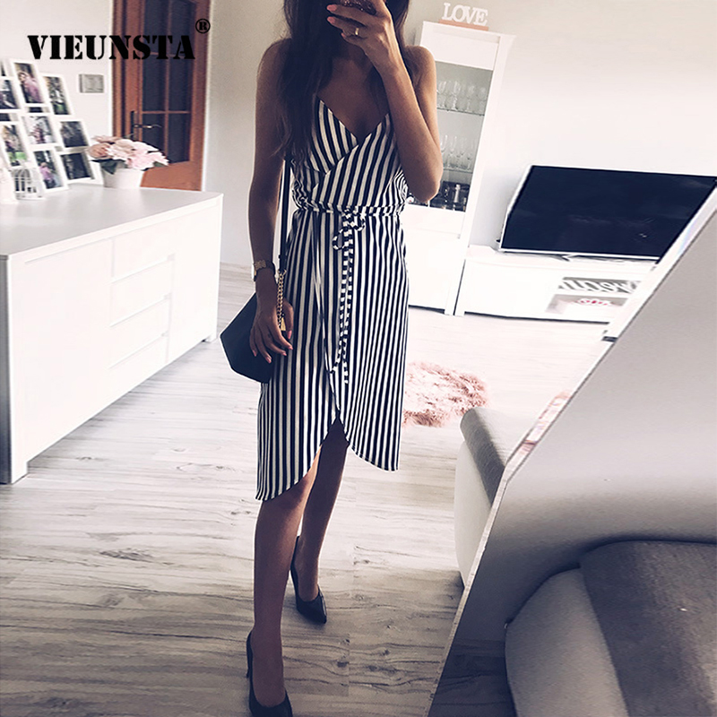 5f7bd631cad VIEUNSTA Striped Print Spaghetti Strap Summer Dress Women V Neck Backless  Split Irregular Dress Elegant Sleeveless Beach Dresses