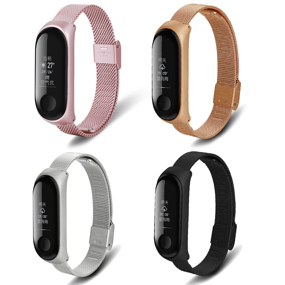 For xiaomi Mi band 3 strap Stainless Steel wristband Milanese Wrist Mi Band 3 Metal Strap WITBON Free shipping in Watchbands from Watches