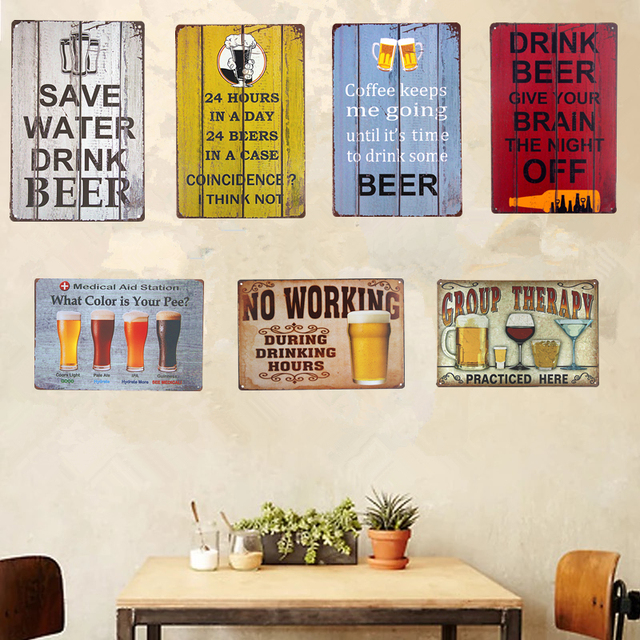 Vintage Shabby Chic Metal Tin Signs Beer Wine Art Posters Bar Pub Restaurant Coffee Cafe Rustic Home Decor Wall Plaques Sti