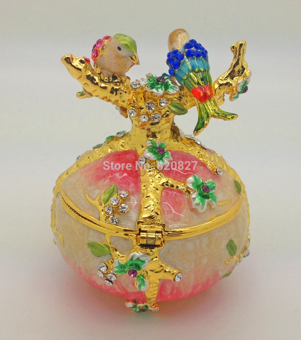 Free Shipping - Vintage Hand Painted Love Birds Faberge Egg Czech Rhinestone Jewelry Trinket Box for Decoration Gift Box faberge egg crystals jewellery jewelry trinket ring gift box egg trinket vintage decorations hinged footed egg shape trinket box