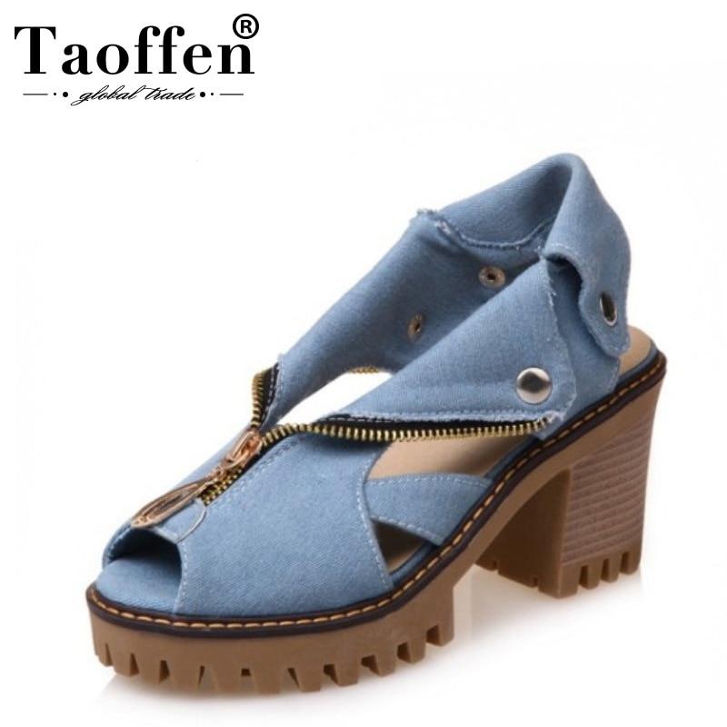 0e329b7a06 Comprar Tamanho 34 43 TAOFFEN Denim Sandálias de Salto Alto Mulheres Zipper  Sandálias Plataforma Sapatos de Verão Mulher Deslizamento Em Sapatas Para  ...