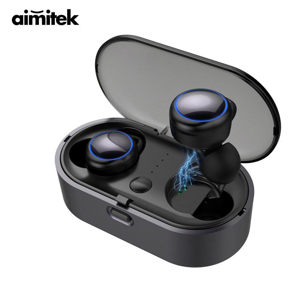 Aimitek W9 TWS Bluetooth 5.0 Earphones Mini True Wireless Stereo Earbuds Handsfree Headsets with Mic Charging Box for Smartphone aimitek k2 true wireless bluetooth earphones tws earbuds mini stereo headset handsfree with mic charging bank retail package box