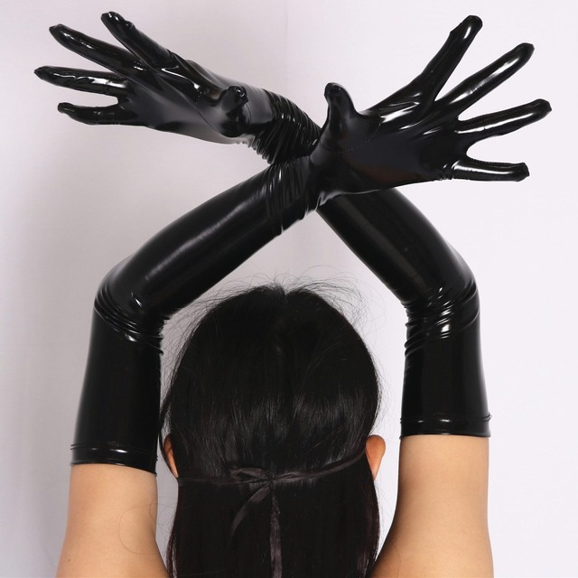 Sexy Faux Leather Shiny Long Latex Glove Punk Gloves Sexy Hip-pop Jazz Outfit Mittens Culb Wear Cosplay Costumes Accessory FX33