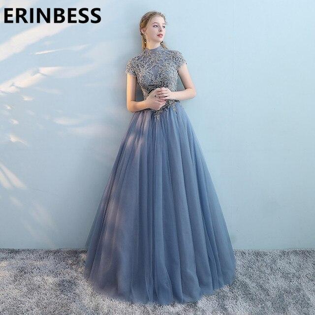 eaa16a4774c Vestido De Festa High Neck New Short Sleeve Prom Dresses Light Blue A Line  Sweep Train