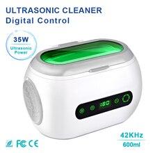Цифровой 600 мл управление Ультразвуковой очиститель 35 Вт 42 кГц бытовой для ванной для ювелирных изделий цепочки-браслеты очки