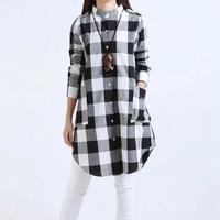 Zanzea Fashion Blusas 2015 Autumn Women Plaid Shirts Blouse Long Casual Loose Vintage Dress Tops Plus