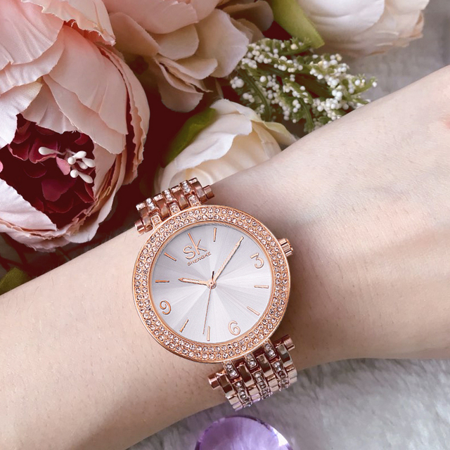 Shengke Rose Gold Watches Women Brand Luxury Crystal Bracelet Watches Reloj Muje