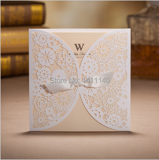 1 set sample white laser cut wedding invitation card with free ...