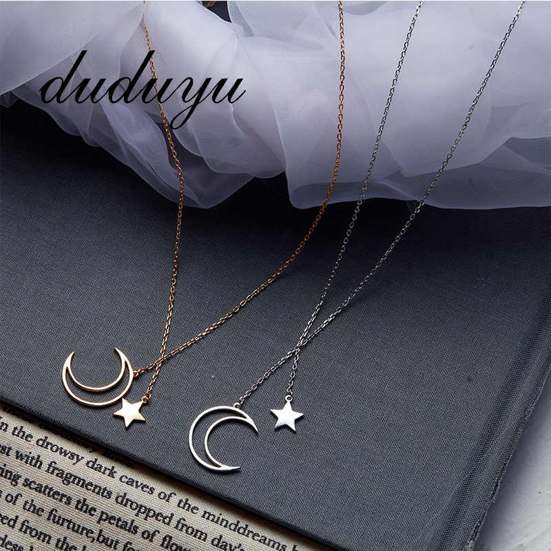 316L Titanium Steel Necklace for Women Gift Korea Fashion Hollow Moon Star Chain Pedant Gold Silver Neckalces Jewelry