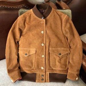 Новая модная весенне-осенняя мужская куртка коричневого цвета 3xl Xxxxl Мужская замшевая кожаная куртка из натуральной воловьей кожи A086