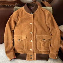 New Fashion Spring Autumn Jacket for Male Brown 3xl Xxxxl Men's Suede Leather Co