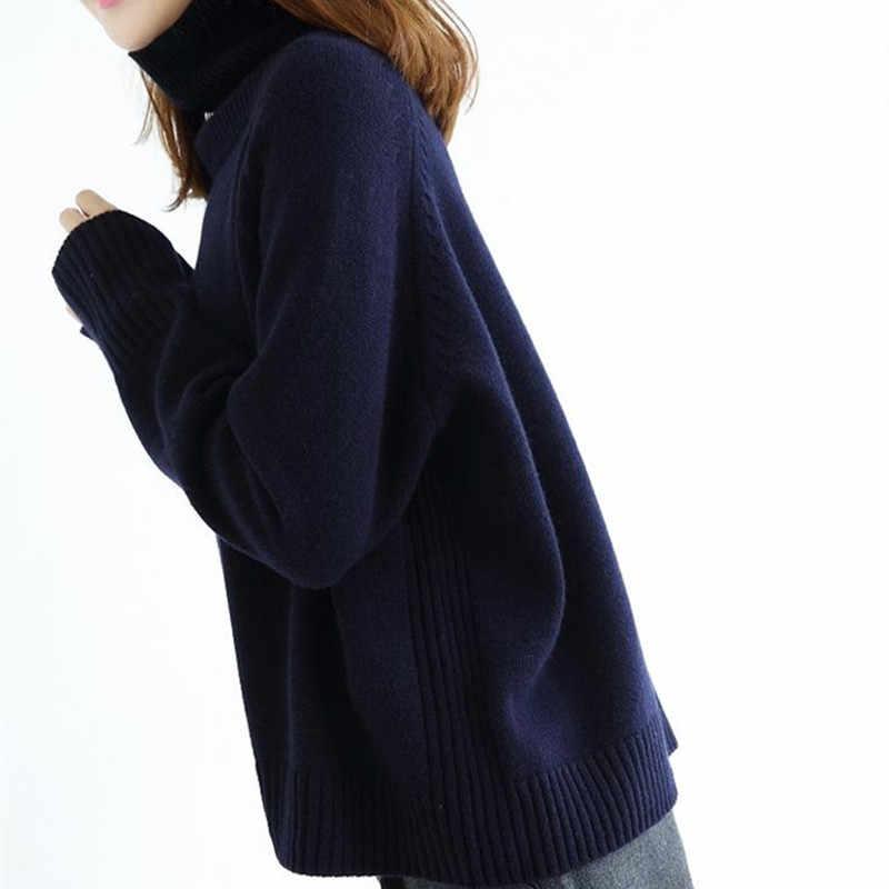 Lafarvie 2019 Baru Kasmir Campuran Sweter Rajutan Baju Wanita Atasan Turtleneck Musim Gugur Musim Dingin Wanita Longgar Pullover Kasual Hangat Sweater