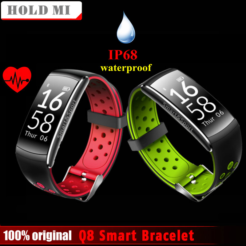 Hold Mi Q8 Bluetooth IP68 Waterproof Smartband Heart Rate Monitor Smart Bracelet Fitness Tracker for Ios Android Phone