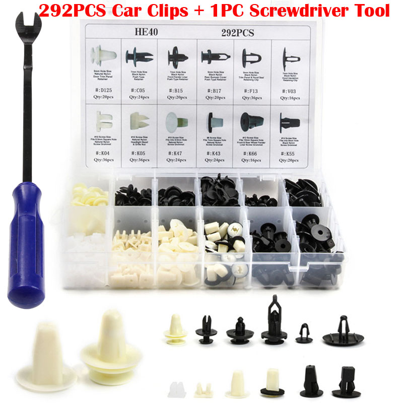 292 PCS Plastic Car Door Trim Panel Auto Bumper Rivet Car Clip Retainer Push Engine Cover Fender Fastener Clips+1 PC Puller Tool