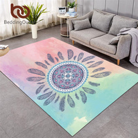BeddingOutlet Mandala Carpet Bohemian Rectangular Floor Mat Pink Blue Large Area Rugs for Living Room Bedroom Home Decoration