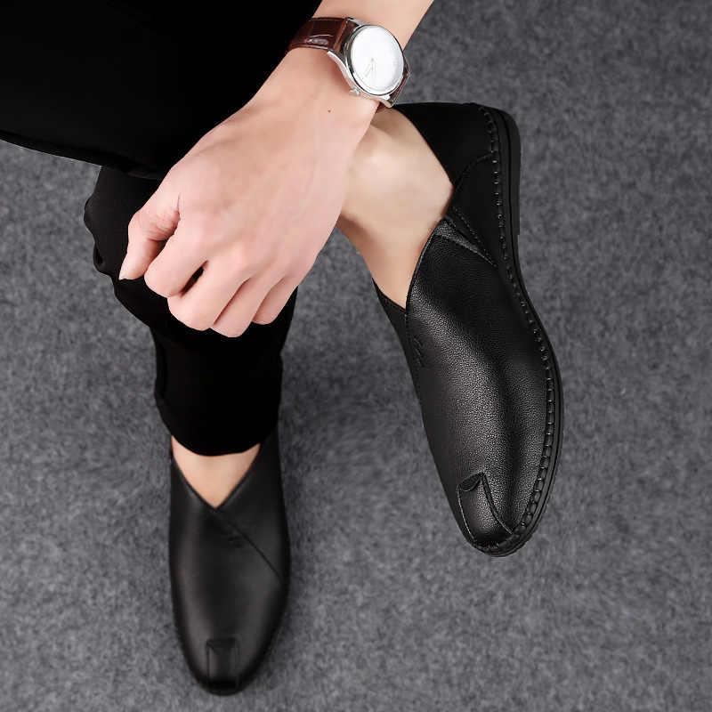 2019 Erkekler Yaz Bahar Ayakkabı Nefes Deri Flats Loafer'lar Erkekler rahat ayakkabılar Lüks Moda Kayma sürüş ayakkabısı Erkekler Büyük Boy