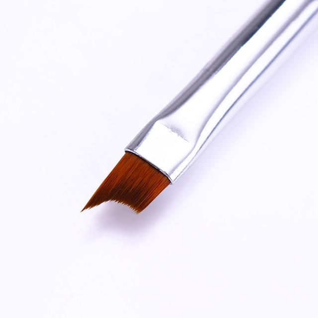 French Tip Nail Brush Silver Black Handle Half Moon Shape Acrylic Painting Drawing Pen  Nail Art Tool 3