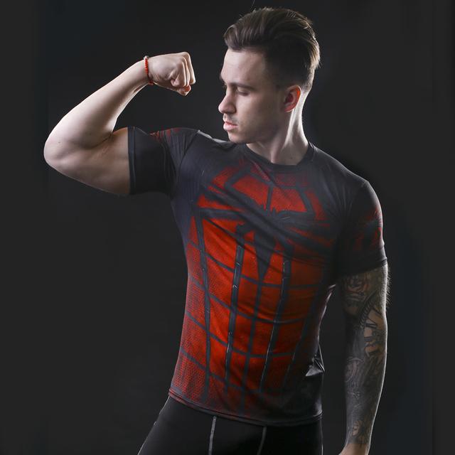 Batman compression shirt fitness tights crossfit quick dry short sleeve t shirt Summer Men tee tops clothing