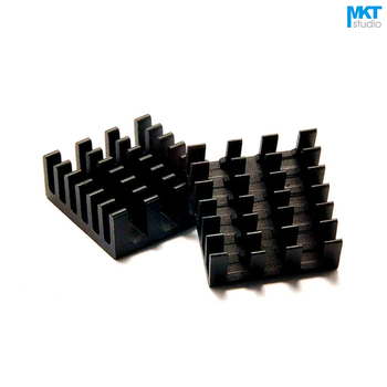 100Pcs Black 14mmx14mmx6mm Pure Aluminum Cooling Fin Radiator Heat Sink