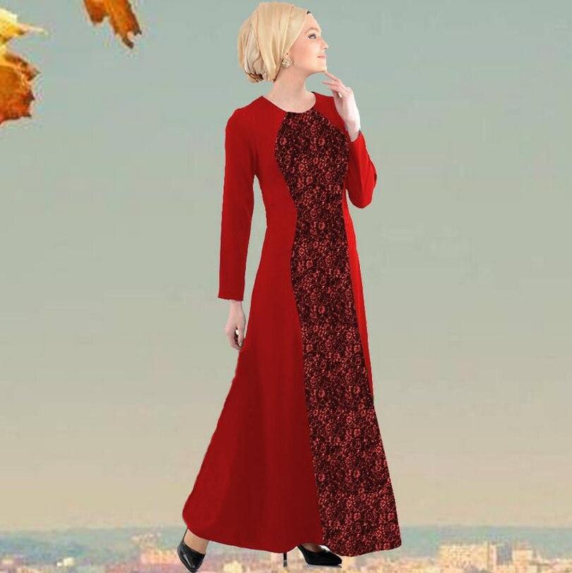 2018 autunno Musulmano per gli adulti più spessa abaya abiti Arabi Musulmani delle donne del vestito abito di pizzo di cotone e tessuto di lino