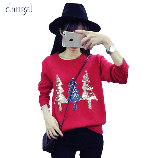 1099fc1e2dc Christmas Sweater women Ugly Christmas Sweater Female Fall 2017 Fashion  Tree Sequins Pearl Winter Sweaters for Women Warm Tops