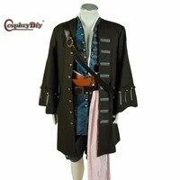 Индивидуальный заказ Пираты Карибского моря Капитан Джек Воробей куртка жилет Брюки для девочек наряд Косплэй костюм для Хэллоуина d0428