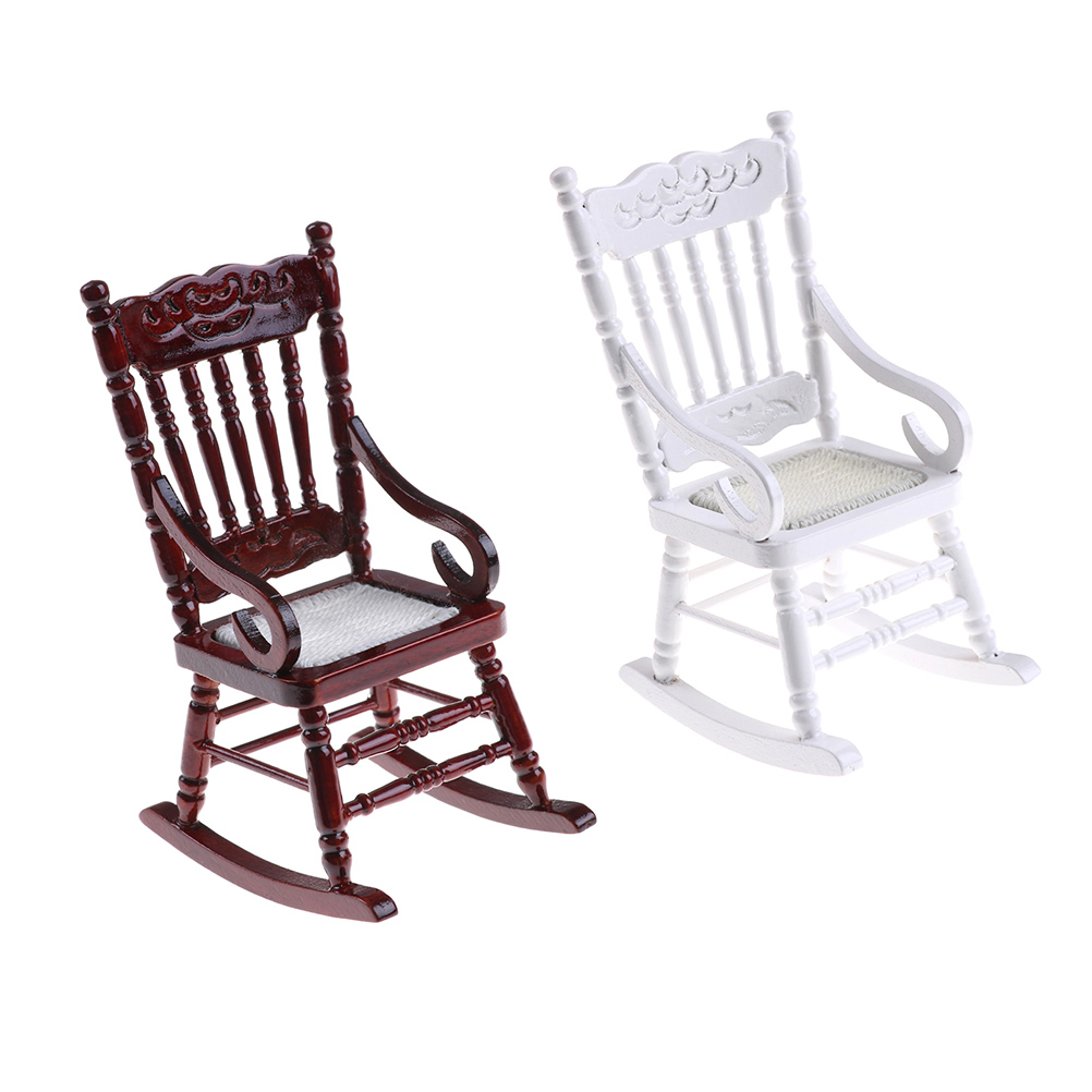 1pcs 1:12 Scale Miniature Furniture Hemp Rope Seat Toys Mini Wooden Rocking Chair For Dolls House Decor Toys & Hobbies Pretend Play