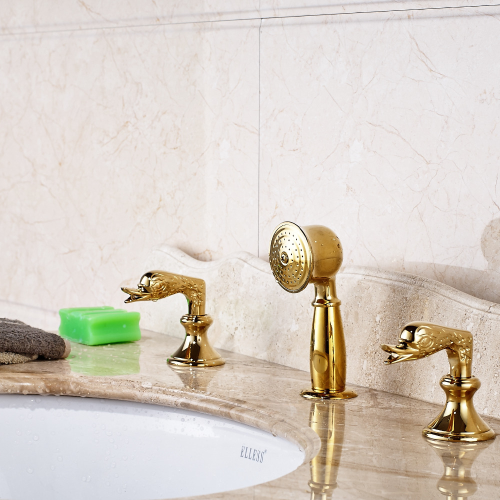 Bathroom Basin Faucet Dual Swan Handles Vanity Sink Mixer Gold pastoralism and agriculture pennar basin india