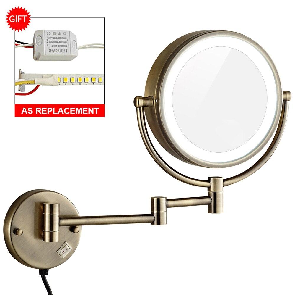 GURUN 10X увеличение косметическое освещенное зеркало светодио дный для макияжа светодиодные фонари Расширенный складной бритья для ванной на...
