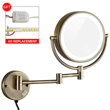 GURUN 10X Magnification Vanity Lighted Makeup Mirror led Lights Extended Folding Shaving Bath Wall Mount Mirrors Dual Sided