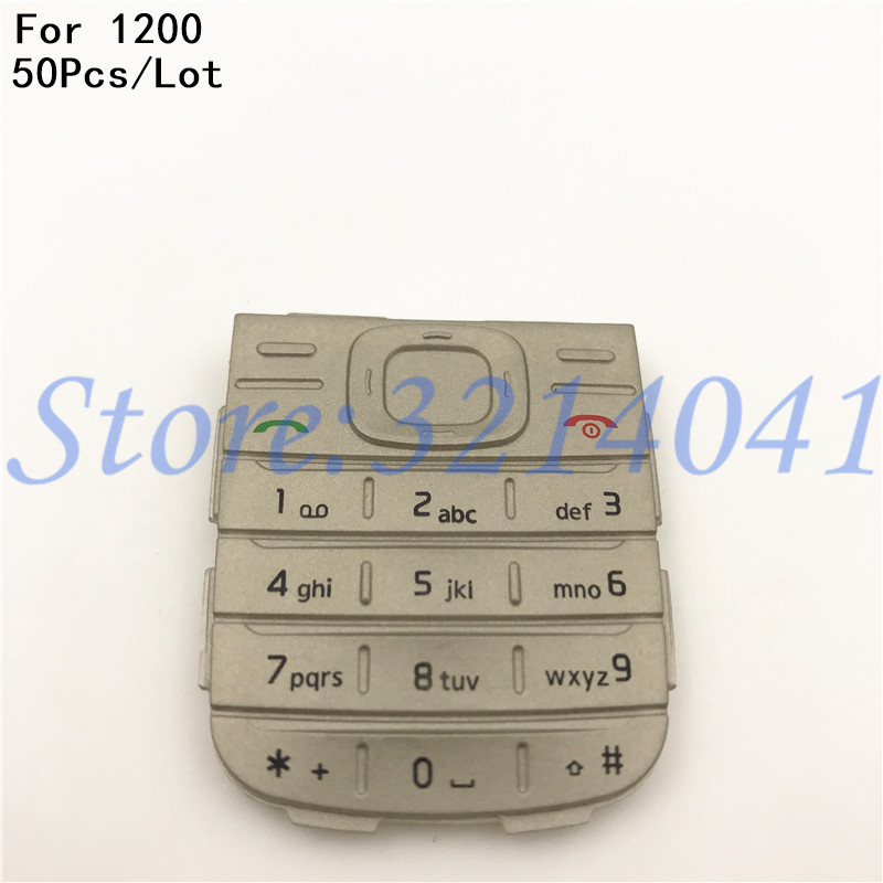 50Pcs/Lot Original New Main Menu English Keypad Keyboard Buttons Cover Case For <font><b>Nokia</b></font> 1200 <font><b>1208</b></font> Black/White image