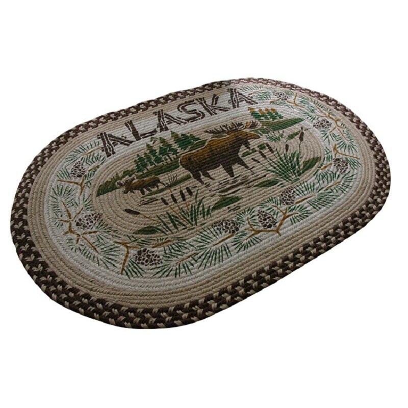 Tapis ovale fait main en lin imprimé chambre cuisine salon tapis 60*90 cm porte de salle de bain tapis coulissants