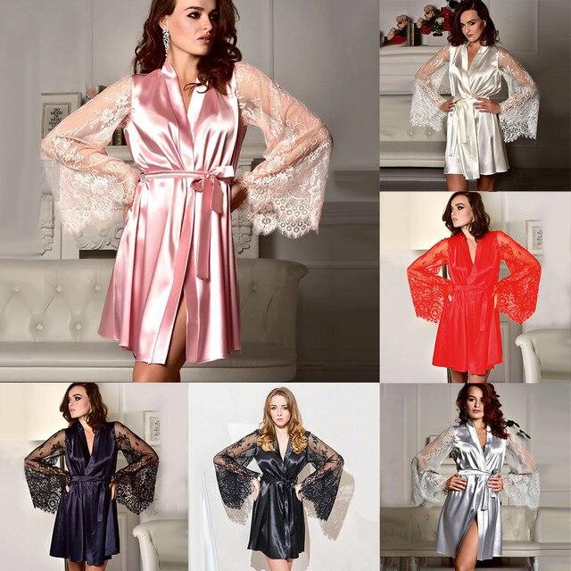758a4e5c5e Las mujeres camisón Sexy de moda ropa de dormir ropa interior encaje  tentación mujer noche vestido