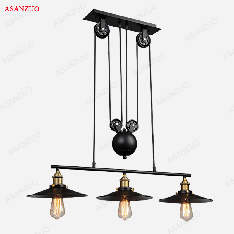 Vintage Iron Loft Industrial American Country Pulley Pendant Lights Adjustable Wire Lamps Retractable Bar Lighting vintage iron loft industrial pulley pendant light american style adjustable wire lamp retractable bar dinning room light