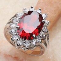 Divine Red Garnet 15*10mm Semi precious Stone Silver Cool For Women Ring Q2368