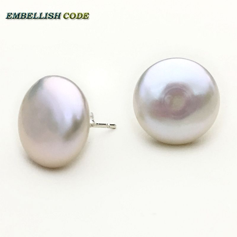 Simple elegant style Baroque white color good sheen flat round Buttons coin shape natural freshwater pearls stud earrings
