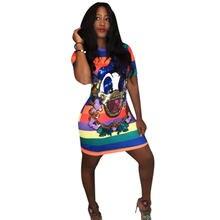 Женское платье футболка с короткими рукавами разноцветная в