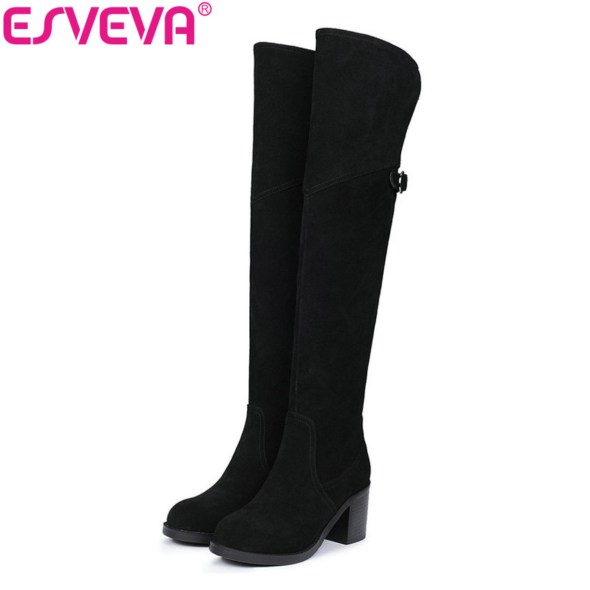 ESVEVA 2018 Winter Women Boots Over Knee High Boots real leather+Scrub Boots Square Heels Short Plush Ladies Boots Size 34-39 esveva 2018 winter women boots over knee high boots real leather scrub boots square heels short plush ladies boots size 34 39