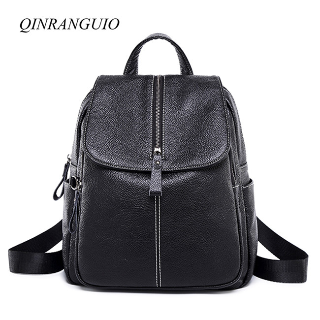 QINRANGUIO Black Backpack PU Leather Backpack Women Good Leather School Bags for Teenage Girls 2018 Fashion Women Backpack 2017 women backpack good quality rivet school backpacks for teenage girls women hand knitting black pu leather backpack mochila