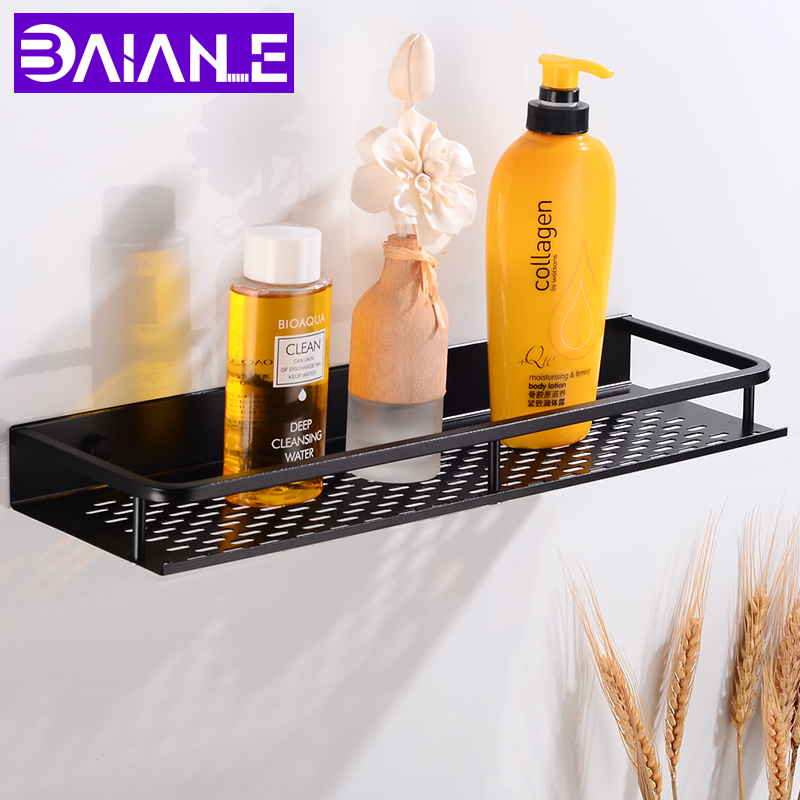 Bathroom Shelf Corner Organizer Aluminum Bathroom Shelves Shower Storage Rack Wall Mounted Corner Basket Shampoo Shelf Black