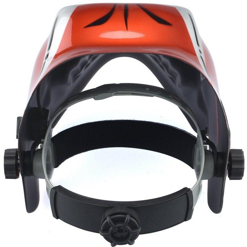 Tools : Welding Helmet Mask Big View Solar Battery Powered Auto-Darkening Rechargeable Battery Red Skeleton Design Welding Helmet