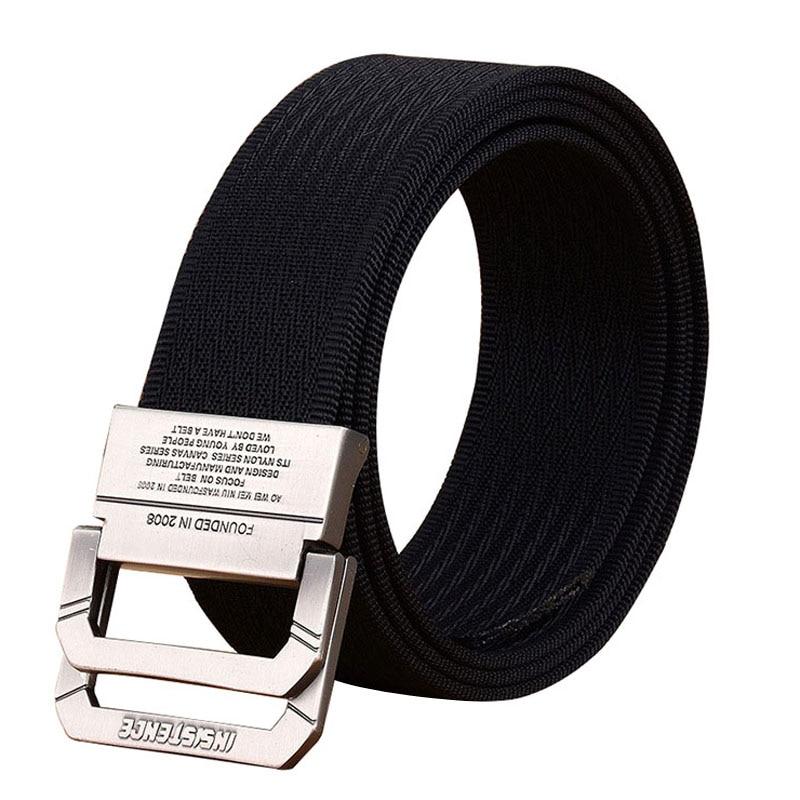 2019 new Unise   belt   high quality Nylon Men   belt   casual Alloy double ring buckle Men and Women sport cowboy   belt