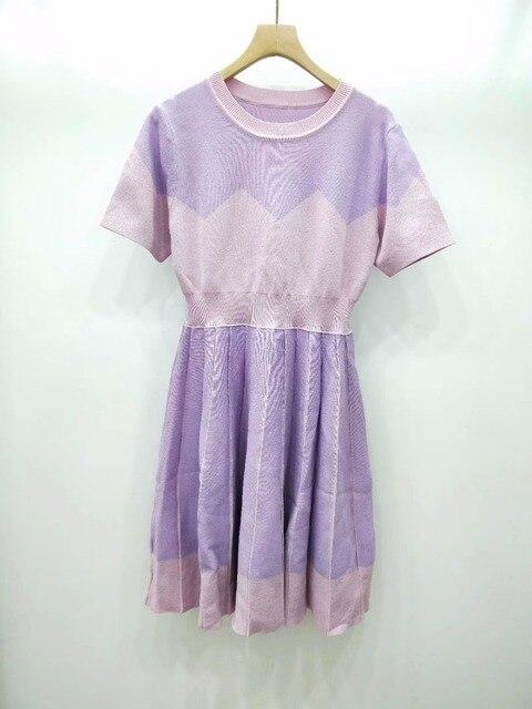 eaa93aad975 2019 WALLA ERA BRAND NEW SPRING SUMMER KNITTED SWEATER DRESS AND CASUAL  PURPLE STYLE WOMEN CASUAL DRESS SWEET CUTE DRESS FEMME