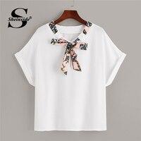 a9033d318c Sheinside Casual Chian Print Bow Tie Neck T Shirt Women 2019 Summer Short  Sleeve Basic Tee