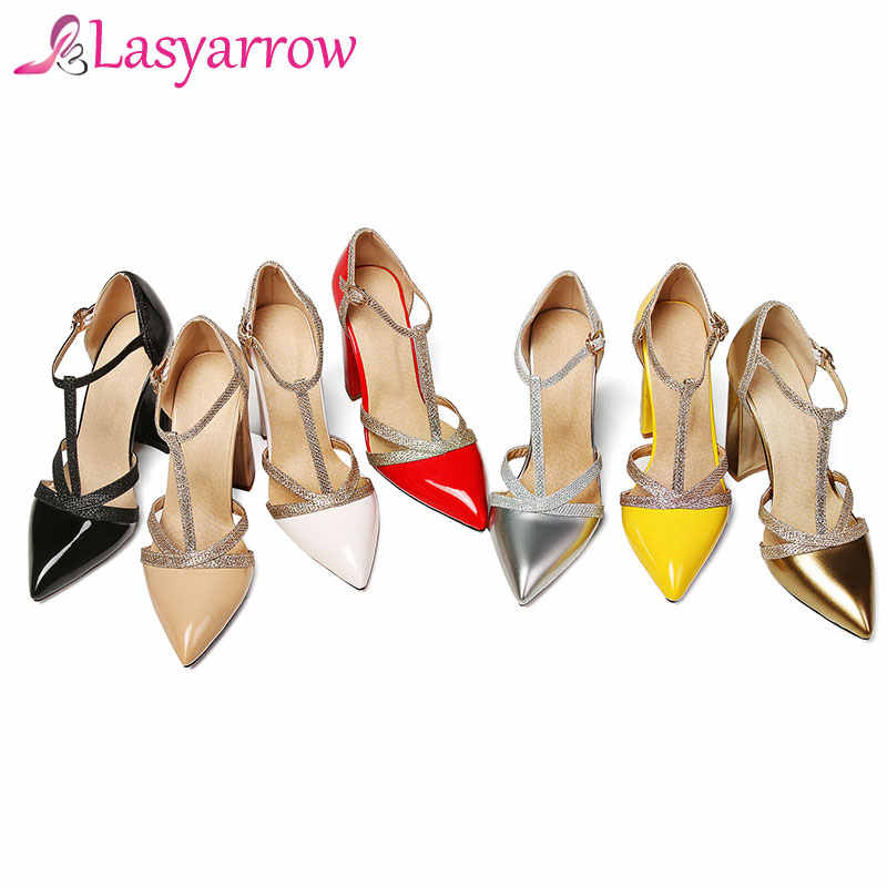 ... Lasyarrow Thick High Heels Wedding Shoes Gladiator Shoes Woman T-strap  Dress Pumps Cut Outs b6bcf52b71d7